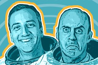 """NASA veterans Mike Massimino (at left) and Garrett Reisman are """"2 Funny Astronauts"""" in a new podcast."""