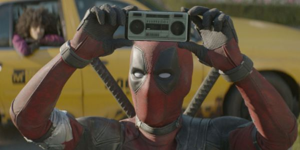 Deadpool with a tiny boombox