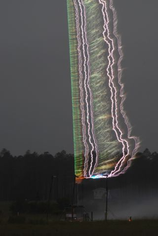 A triggered lightning experiment conducted in Florida as part of an ongoing research effort to better understand how lightning forms.