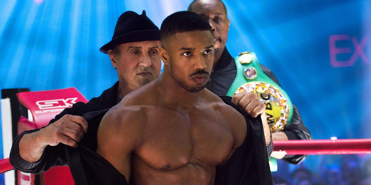 "Michael B. Jordan as Adonis ""Donnie"" Creed and Sylvester Stallone as Rocky Balboa in Creed II (2018)"