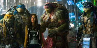The turtles and Megan Fox in Teenage Mutant Ninja Turtles