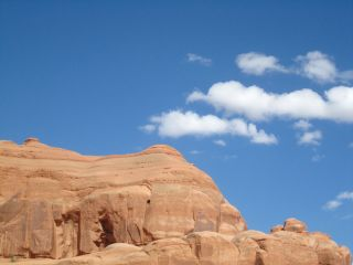 Blue sky over Arches National Park in Utah.
