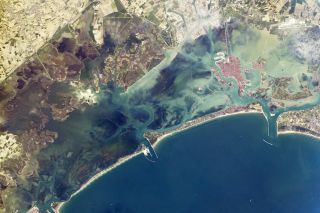 venice and venice lagoon from space