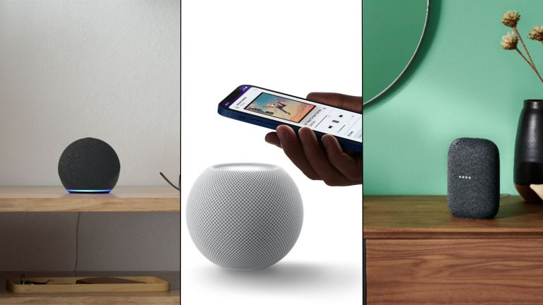 Echo Dot, HomePod Mini and Nest Audio side by side