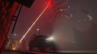A massive flying snake fires a laser at a car