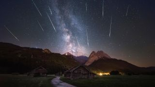 The 2018 Perseid meteor shower seen over Garmisch-Partenkirchen in the Alps.
