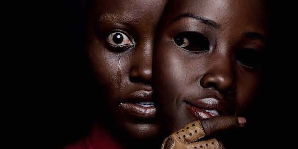 Us poster of Lupita Nyong'o as Adelaide Wilson and evil doppelganger Red