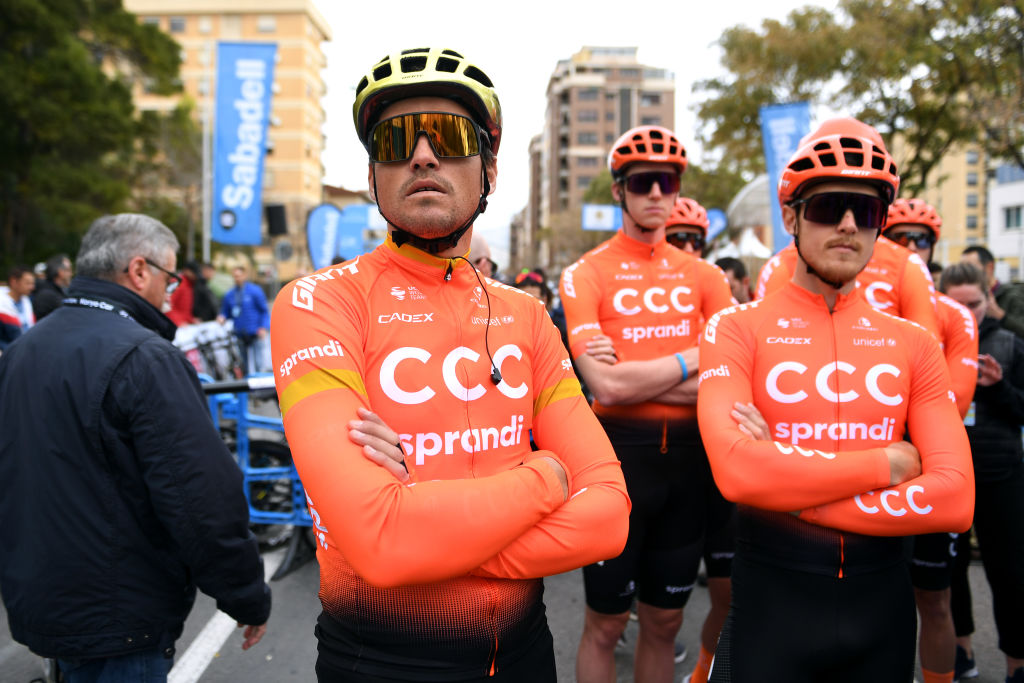 VILLAREAL SPAIN FEBRUARY 05 Start Greg Van Avermaet of Belgium and CCC Team Matteo Trentin of Italy and CCC Team Nathan Van Hooydonck of Belgium and CCC Team during the 71st Volta a la Comunitat Valenciana 2020 Stage 1 a 180km stage from Castell to VilaReal VueltaCV VCV2020 on February 05 2020 in Villareal Spain Photo by David RamosGetty Images