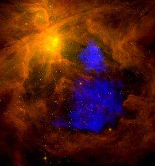 Huge Stars Seen as Source of Glowing Gas