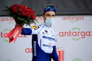 MERIBEL FRANCE SEPTEMBER 16 Podium Julian Alaphilippe of France and Team Deceuninck QuickStep Most Combative Rider Celebration during the 107th Tour de France 2020 Stage 17 a 170km stage from Grenoble to Mribel Col de la Loze 2304m TDF2020 LeTour on September 16 2020 in Mribel France Photo by Christophe PetitTesson PoolGetty Images
