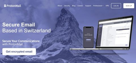 ProtonMail's homepage