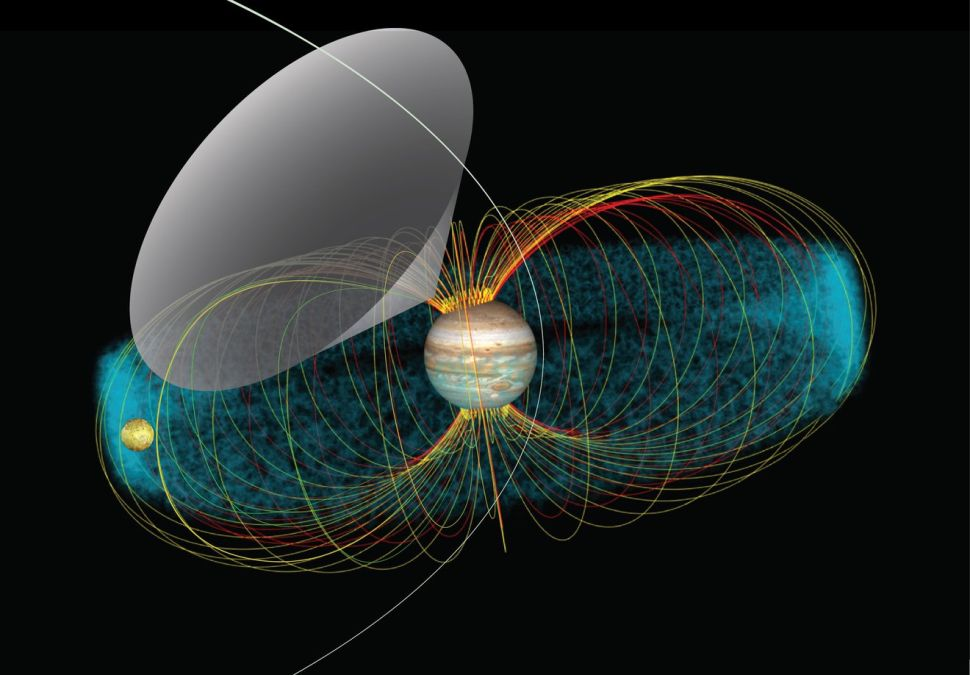 This conceptual image represents Jupiter's large, powerful magnetic field and how it links Io's orbit with Jupiter's atmosphere.