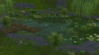 A well-established Sims 4 pond, with trees, fish, and various wildlife
