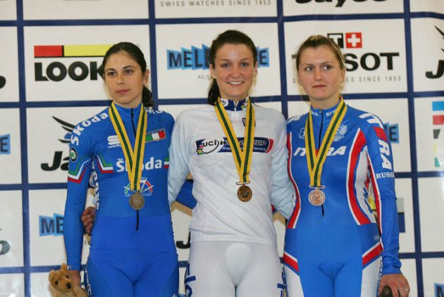 Elizabeth Armitstead winner of the womens scratch race at the Melbourne track world cup