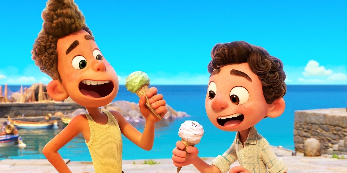 Alberto and Luca enjoying gelato in Luca