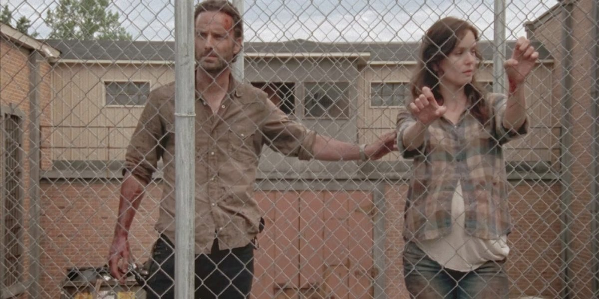 Rick and Lori in The Walking Dead.