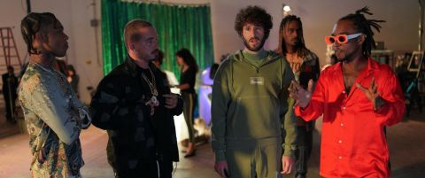 Lil Dicky (Dave Burd) receives a thorough and well-deserved dressing down from J Balvin and Rae Sremmurd after making some suggestions for the music video in which they invited him to appear.