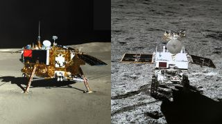 China's Chang'e 4 lander and Yutu 2 rover, photographed by each other.