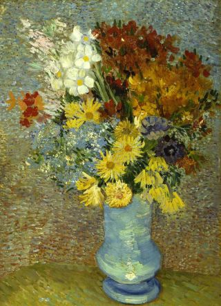 "Vincent Van Gogh's ""Flowers in a blue vase"" painting,"