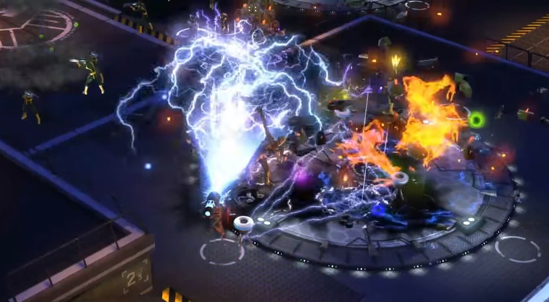 A battle in Marvel Heroes that's mostly just lightning and fire effects
