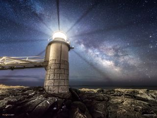 Marshall Point Lighthouse and Mikly Way by Taylor Photography