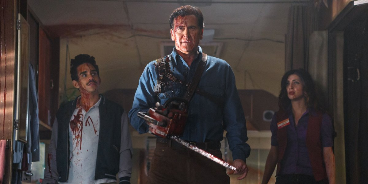 Ray Santiago, Bruce Campbell, and Dana DeLorenzo in Ash vs Evil Dead