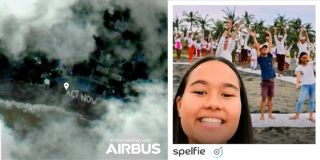 "The first ""Spelfie"" (left), a satellite photo organized by teenage environmental campaigner Isabel Wijsen to raise awareness about the problem of plastic pollution on Bali's beaches."
