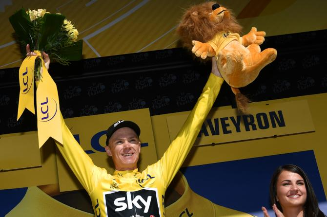 Chris Froome in yellow at the Tour de France after stage 14