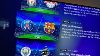 PSG vs. Barcelona in Champions League football