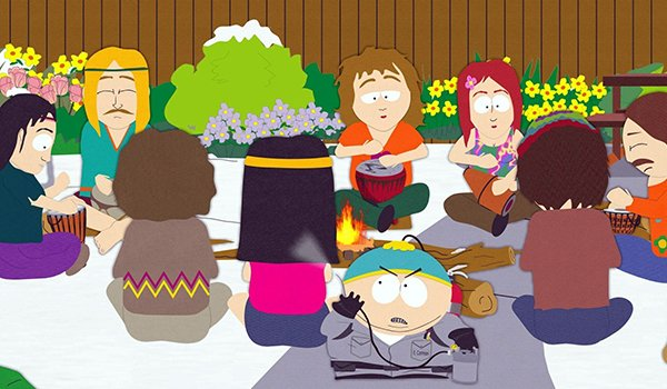 Cartman trying to exterminate hippies on South Park