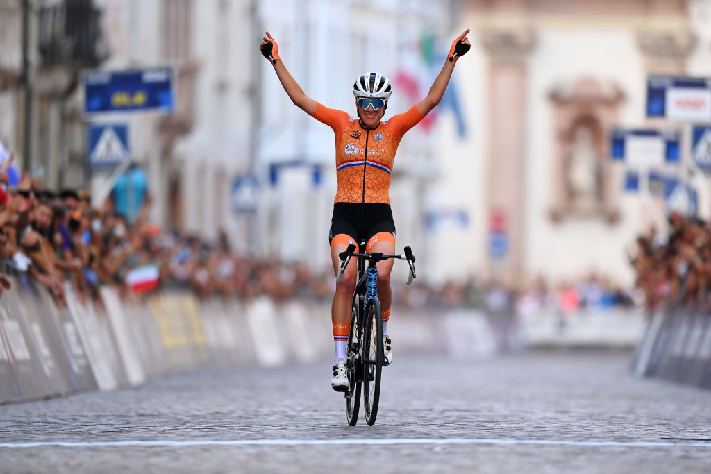 TRENTO ITALY SEPTEMBER 11 Ellen Van Dijk of Netherlands celebrates at finish line as race winner during the 27th UEC Road Cycling European Championships 2021 Elite Womens Road Race a 1072 km race from Trento to TrentoPiazza Duomo UECcycling on September 11 2021 in Trento Italy Photo by Justin SetterfieldGetty Images