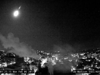 A very bright meteor blazed through the skies over Lake Michigan at around 1:25 a.m. local time on Feb. 6, 2017. The fireball's flight was captured by a camera on the campus of the University of Wisconsin-Madison.