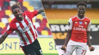Brentford vs Arsenal live stream Premier League 21/22 — Ivan Toney of Brentford and Bukayo Saka of Arsenal