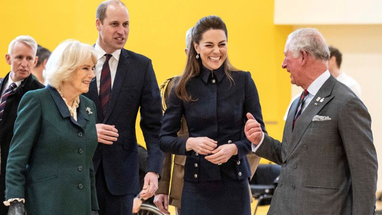 Kate Middleton, Prince William, Prince Charles and Camilla share a laugh