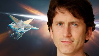 An image illustration of Bethesda's Todd Howard before the Starfield.