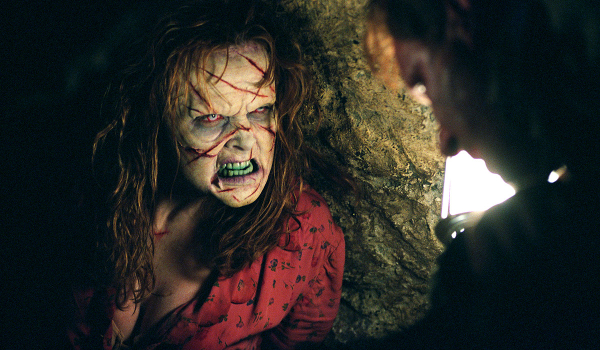 Exorcist: The Beginning Izabella Scorupco scowling in a possessed manner