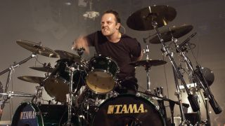 Lars Ulrich on stage during St. Anger tour, 2004