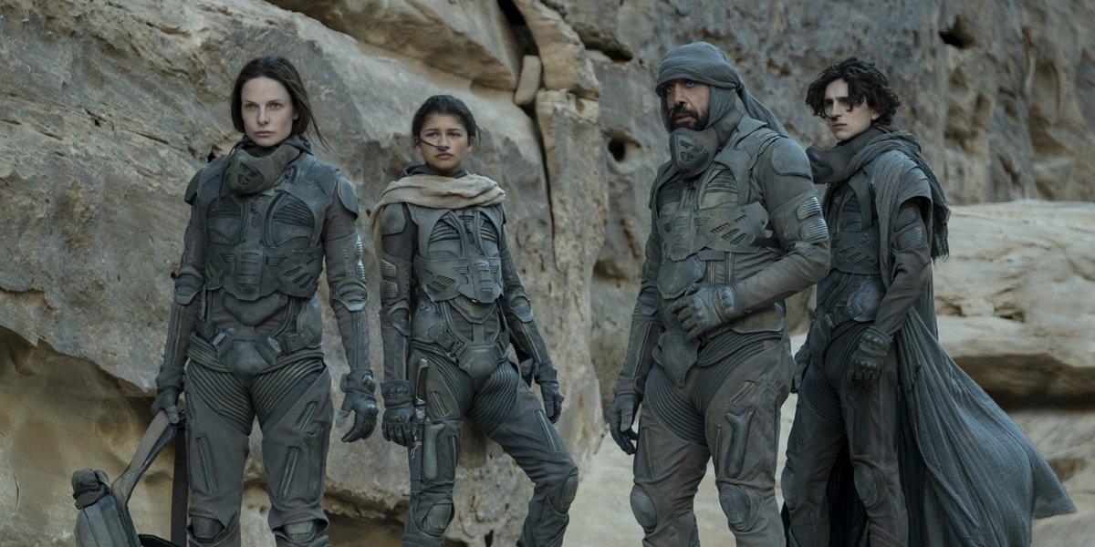 Lady Jessica (Rebecca Ferguson) Chani (Zendaya) Stilgar (Javier Bardem) and Paul (Timothee Chalamet) in Dune