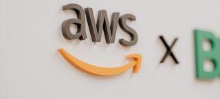 Amazon Web Service's logo on a wall