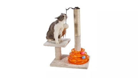 PEEKAB cat scratching post with cat tracks