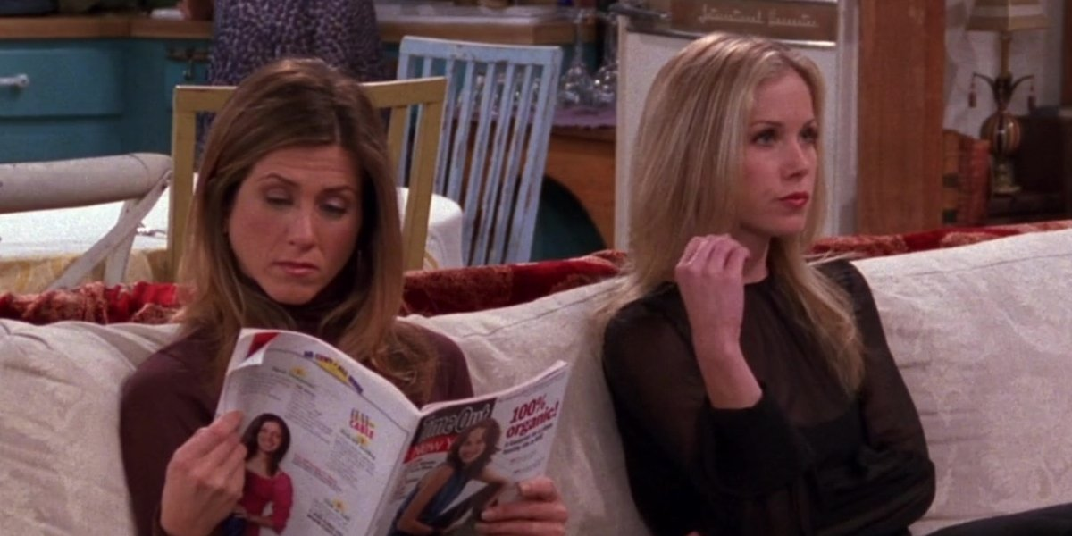 Jennifer Aniston and Christina Applegate on Friends