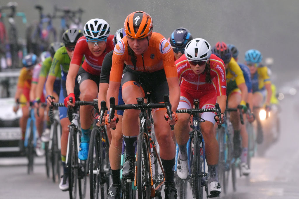 PLOUAY FRANCE AUGUST 27 Vita Heine of Norway Chantal Van Den Broek Blaak of The Netherlands during the 26th UEC Road European Championships 2020 Womens Elite Road Race a 1092km race from Plouay to Plouay GrandPrixPlouay GPPlouay on August 27 2020 in Plouay France Photo by Luc ClaessenGetty Images