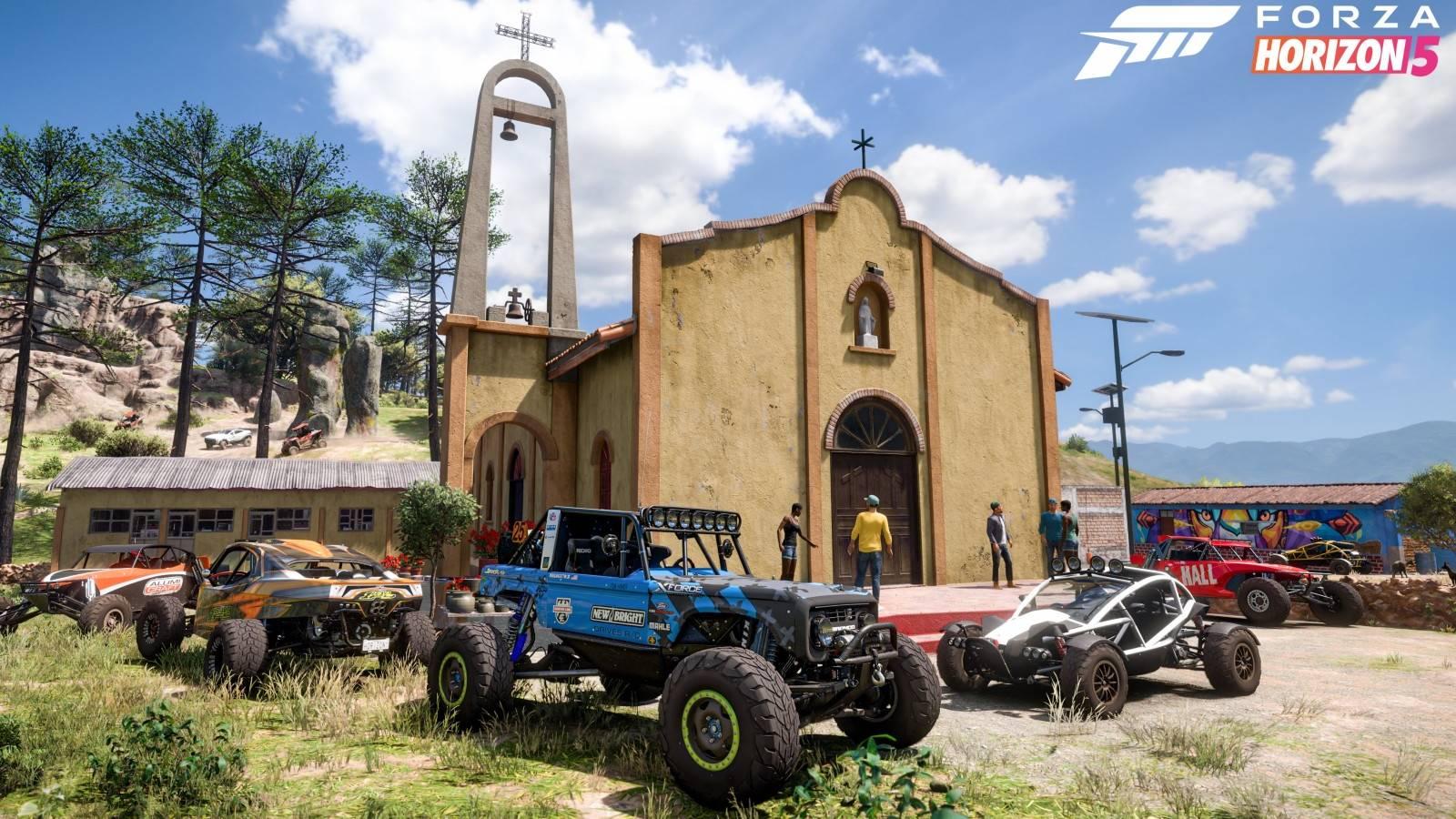 Forza Horizon 5 cars outside church