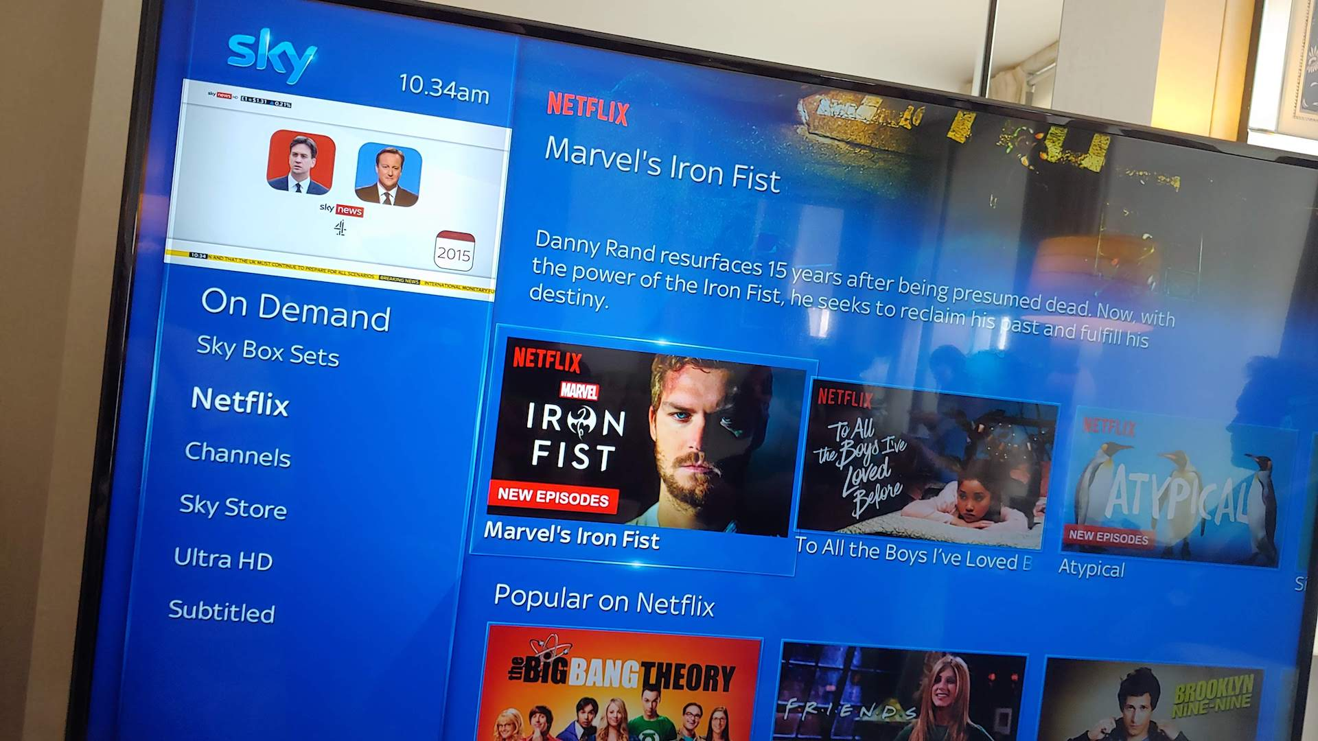 Netflix is now integrated into the core Sky Q interface.