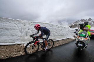 Overall leader Team Ineos rider Colombias Egan Bernal rides in the final ascent during the 16th stage of the Giro dItalia