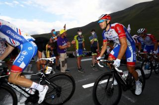 French hope Thibaut Pinot is surrounded by his loyal Groupama-FDJ teammates during stage 8 of the 2020 Tour de France as his dreams of a high overall finish in Paris collapse