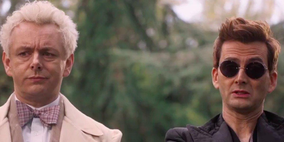 Good Omens Michael Sheen and David Tennant talking at the park