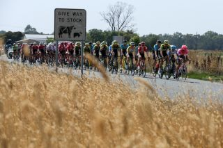 The peloton makes its way from Nagambie to Shepparton on stage 1 of the 2020 Herald Sun Tour