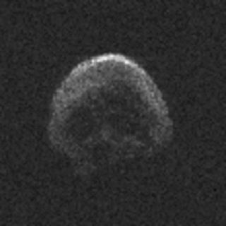 This radar image of asteroid 2015 TB145, which NASA says is likely a dead comet, was captured using the Arecibo Observatory in Puerto Rico on Oct. 30, 2015 with a resolution of 25 feet per pixel. The skull shaped asteroid flew by Earth on Halloween (Oct.