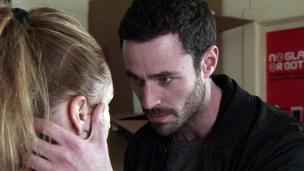 Callum (Sean Ward) threatens Kylie (Paula Lane) on Coronation Street
